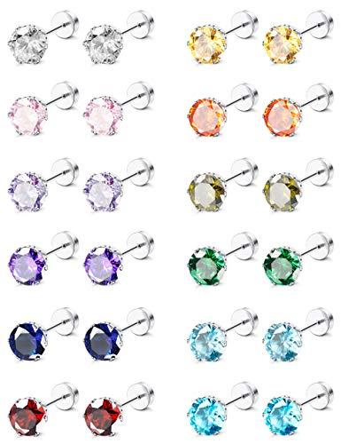 (ORAZIO CZ Stud Earrings for Girls Women Stainless Steel Cubic Zirconia Screwback Earrings Set (G:6MM CZ))