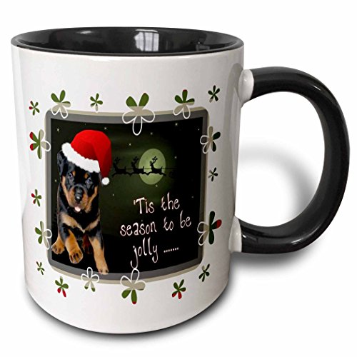 3dRose 3dRose Tis The Season A running rottweiler puppy wearing Christmas apparel and being jolly - Two Tone Black Mug, 11oz (mug_128293_4), , - Apparel Running Outlet