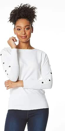 Roman Originals Mujeres barco cuello botón detalle 3/4 manga Jumper señoras moda casual día trabajo oficina formal otoño invierno ocasiones luz inteligente corte corte lana jumpers