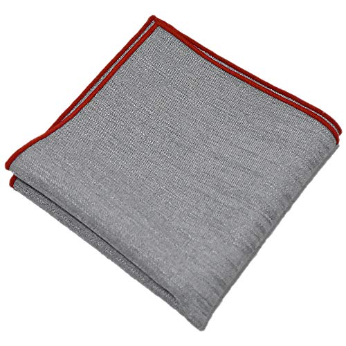 (Flairs New York Gentleman's Essentials Weekend Casual Pocket Square Handkerchief (Pewter Grey/Red))