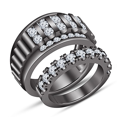 TVS-JEWELS Forever Love Couple Channel Setting White CZ Black Rhodium Plated Sterling Silver Ring Set by TVS-JEWELS