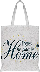 Theres No Place Like Home linen Shopping Crafts ReusableTote Bag Shoulder Bag15x16.5 inch Double Design suitable any occasion