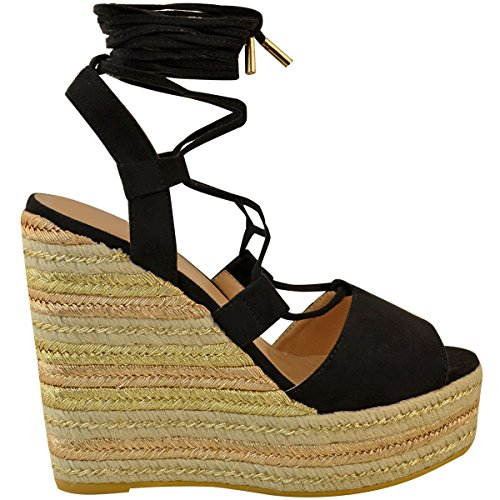 Up Wedge Faux Womens Suede Size Espadrille Party Tie Strappy Lace Thirsty Black Fashion Sandals EUZRw6q0xW