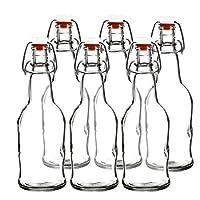 Easy Cap Beer Bottles - Botellas de Kombucha - 16 oz. - Paquete de 6 transparentes - EZ Cap - Botellas de herrajes originales de Cherry Blossom (6, botellas de tarros de masón transparentes)