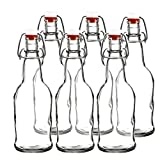 : Easy Cap Beer Bottles - Kombucha Bottles - 16 oz. - Clear 6 pack - EZ Cap -- Original Cherry Blossom Hardware Bottles (6, Clear Mason Jar Bottles)