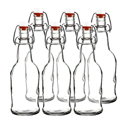 Easy Cap Beer Bottles - Kombucha Bottles - 16 oz. - Clear 6 pack - EZ Cap -- Original Cherry Blossom Hardware Bottles (6, Clear Mason Jar Bottles) Blossom Cap