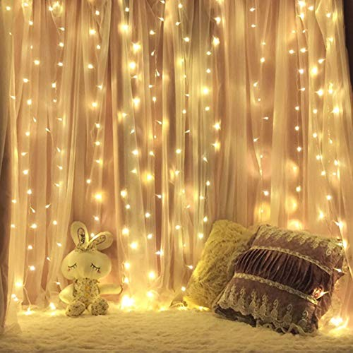 MZD8391 Curtain String Lights, 9.8 X 9.8ft 304 LED Starry Fairy Lights for Wedding, Bedroom, Bed Canopy, Garden, Patio, Outdoor Indoor (Warm White) by MZD8391 (Image #2)