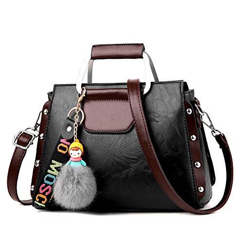 RENHONG Señoras Shoulder Crossbody Bolsos Bolsos PU Leather Tote Hobo Mujeres Grandes Moda Negro Brown Pink Red Handbags,D-OneSize A