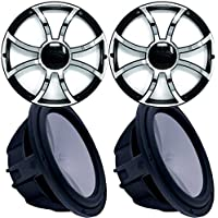 Two Wet Sounds Revo 12 Subwoofers & Grills - Black Subwoofers & Black Grills With Stainless Steel Inserts - 2 Ohm
