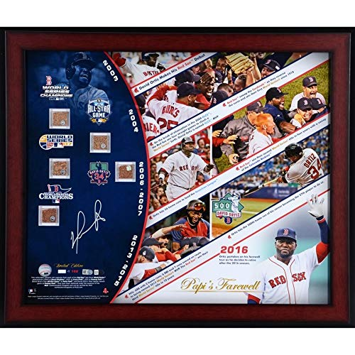 David Ortiz Boston Red Sox FAN Authentic Framed Autographed Signed 20 X 24 Career Timeline Photograph With Five Game-Used Dirt Capsules - Limited Edition Of 150 - Certified Signature
