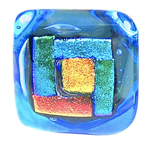 (Dichroic Glass Knobs Custom Made Craftsman Geometric Blocks - Cabinet or Drawer Pull Handle - 1