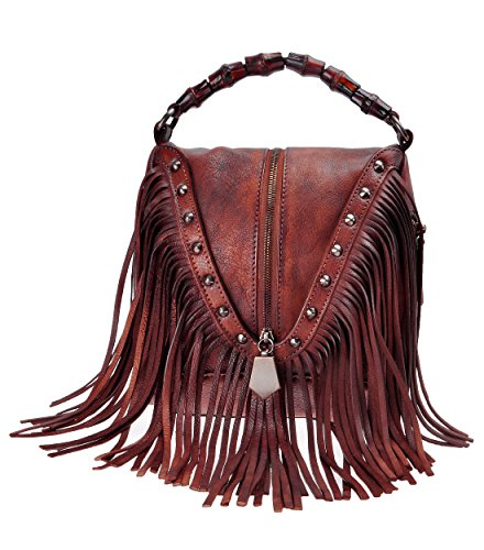 (ZLYC Women's Leather Bamboo Hand Strap Featured Fringe Bohemian Tassel Studed Cross Body Bag (Red))