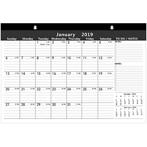 Ankuka Black Home Planner Wall Calendar for 2019, Month-to-View Family Organiser with Special Iterms and Large Spaces for Each Day, 16.5