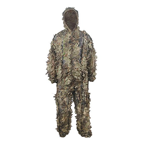 LOOGU Hunting Blinds, Outdoor Camouflage Ghillie Poncho Camo Suit Military Leaf Hunting and Shooting Accessories Tactical Gear Clothing for Airsoft, Wildlife Photography Halloween or Christmas ()