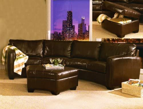 Jade Media Sectional Ottoman Dark Brown Leather