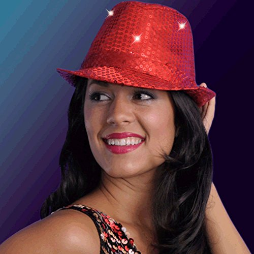 blinkee LED Flashing Fedora Hat with Red Sequins by