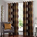 Story at Home 2 Piece Nature Eyelet Polyester Floral Pattern Door Curtain - 7ft, Brown