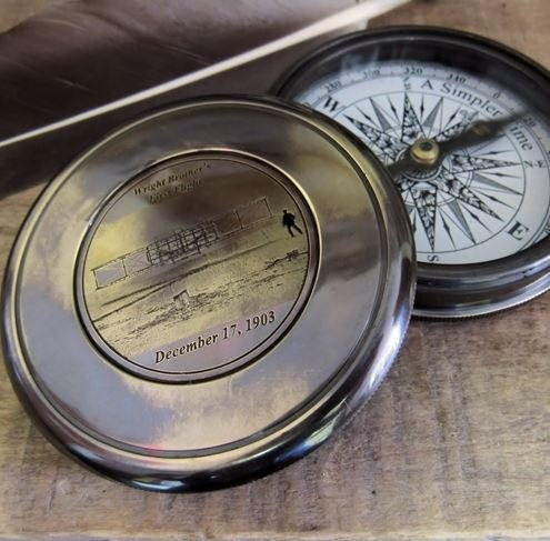 Antiqued Brass Wright Brothers Compass ()