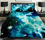 Anlye Cotton Green Galaxy Bedding Set Blue Space Duvet/Quilt Cover Cotton Blue Sheet Green Outer Space Bedding Set 3D Green Milky Way Donna Cover Queen
