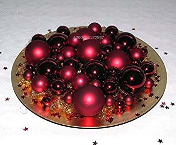 Weihnachtsdeko Auf Teller.Amazon De Weihnachten Dekoset Teller 50 Kugeln Engelhaar Sternen