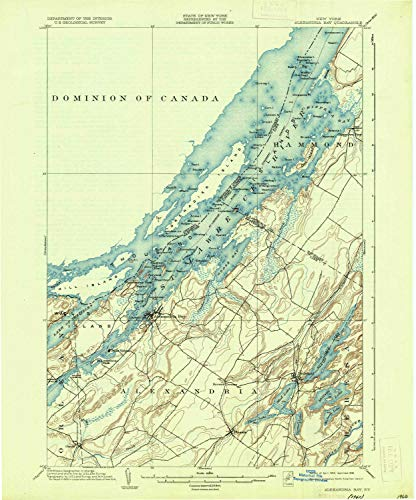 YellowMaps Alexandria Bay NY topo map, 1:62500 Scale, 15 X 15 Minute, Historical, 1903, Updated 1936, 19.9 x 16.5 in - Tyvek