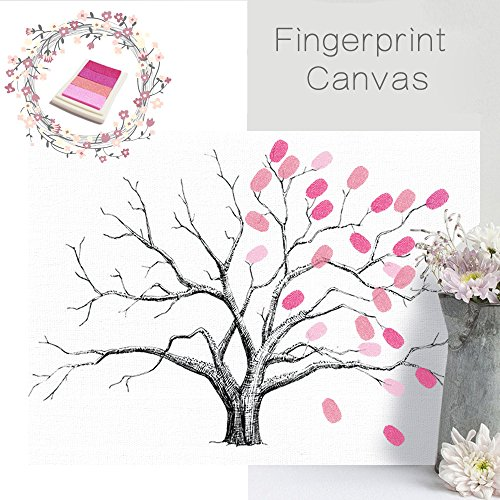 iMagitek Wedding Fingerprint Tree, Creative DIY Guest Signature Sign-in Book Unique Signature Guestbook Canvas Fingerprints Tree Painting for Wedding Birthday Party with 4pcs Ink Pads