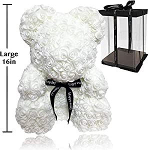 Rose Flower Bear - Fully Assembled 16 inch Hugz Teddy Bear - Over 20 Dozen Artificial Flowers - Best Gift for Mothers Day, Valentines Day, Anniversary, Bridal Showers (White) - w/Clear Gift Box 1