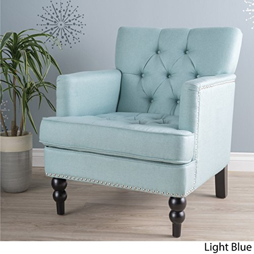 Medford | Button-Tufted Fabric Club Chair | in Light (Floral Fabric Button)