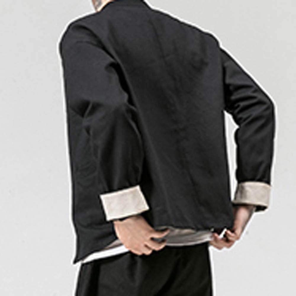Uomo Lino Camicia LandFox Slim Fit Tinta Unita Camicetta Moda Uomo Camicie Maniche Lunghe Casual Camicia Uomo Bianca Camicia Formale Uomo Casual Classiche T-Shirt Magliette Camicia Stile Cinese