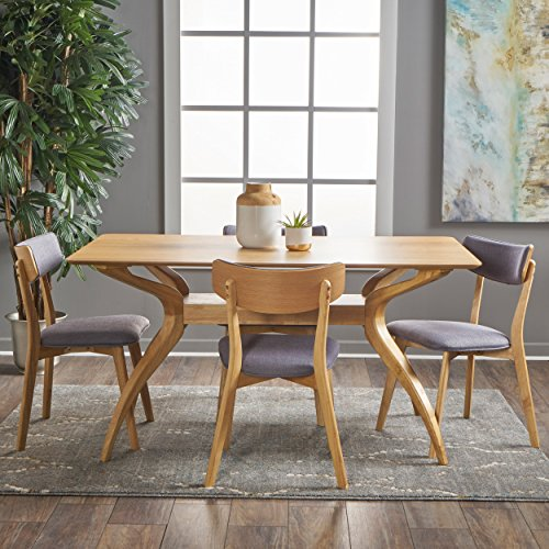 (Nerron Mid Century Natural Oak Finished 5 Piece Wood Dining Set with Dark Grey Fabric Chairs)