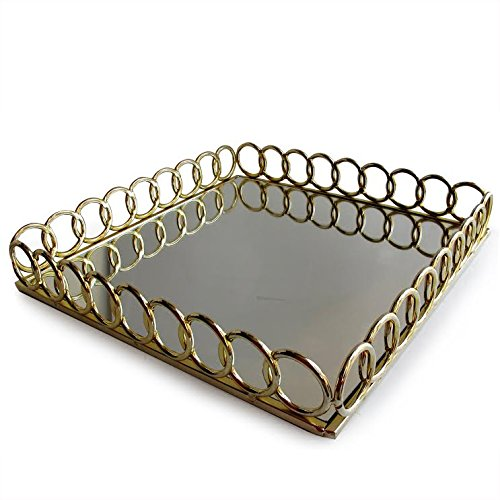 American Atelier 1332767 Looped Square Mirror Tray, Gold by American Atelier