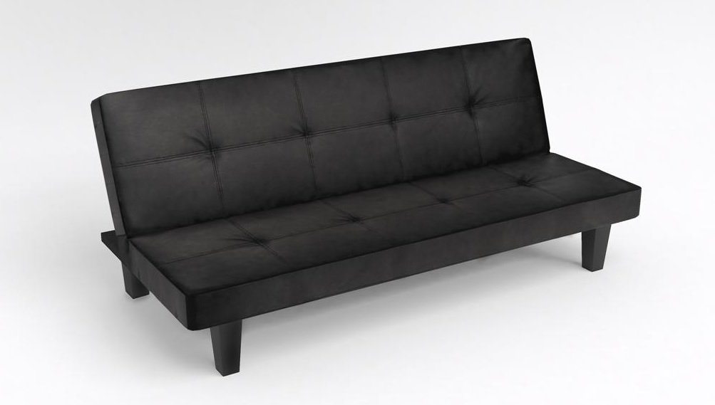 Click Clack Sofa Bed Black Faux Leather Guest Or Spare Room Bed Settee By  TUSCAN: Amazon.co.uk: Kitchen & Home