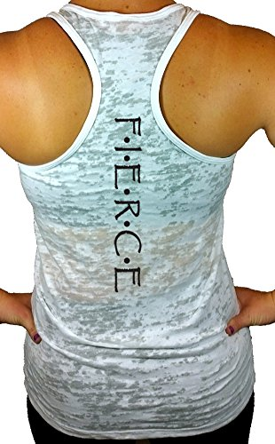 Shine Athletica Women's Fierce Workout Burnout Racerback Tank Top S White