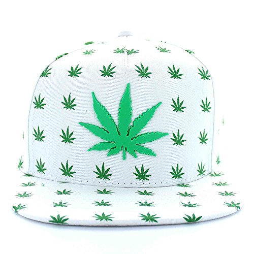 Marijuana-All-Over-Leaf-Pattern-Flat-Bill-5-Panel-Cotton-Snapback-Cap-WHITE
