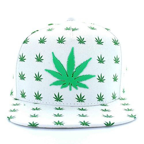 Marijuana-All-Over-Leaf-Pattern-Flat-Bill-5-Panel-Cotton-Snapback-Cap-WHITE