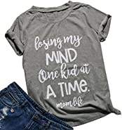 FAYALEQ Women Casual Letters Print T-Shirt Short Sleeve Losing My Mind Mom Life Tops Tee