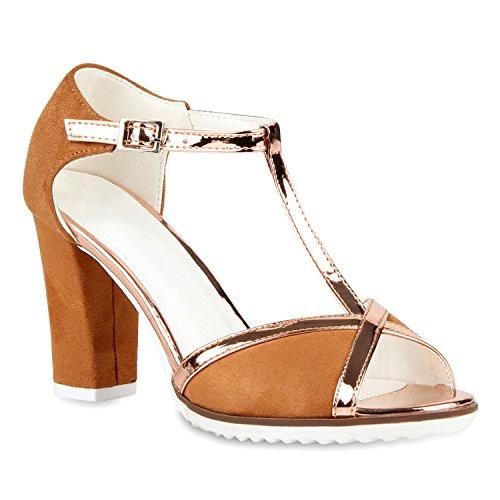 Stiefelparadies Damen Riemchensandaletten Metallic Schuhe Fransen Nieten  Lack Sandaletten Sandal Boots Schaftsandaletten Velours Denim Samt Flandell