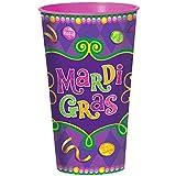 Amscan Vibrant Mardi Gras Party Plastic Cups Tableware, Plastic, 28 Ounces