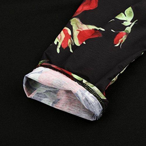 Top Tee Original shirts Haut Rouge Taille Grande Longra Femme Femme Col Femme Chemisiers T Marque fleurs shirt longue Raglan Fille Blouse Casual Femme lgant Imprim Manche rond x1ZwCpq7