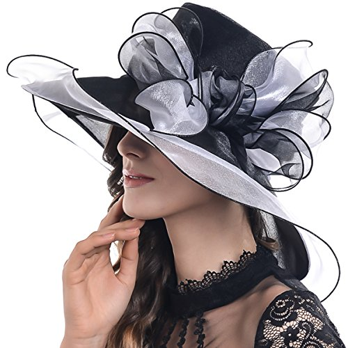 FORBUSITE Women's Organza Church Derby Bridal Cap Tea Party Wedding Hat S039-2