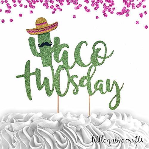 1 pc Taco TWOsday mustache sombrero cactus cacti cake topper green glitter fiesta festive party theme second birthday boy girl spring summer