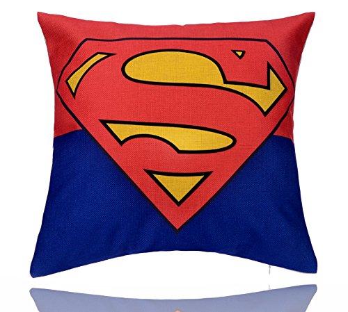 REINDEAR 18'' X 18'' Comics Superhero Cotton Linen Decorative Pillow Cover Cushion Case (Superman)