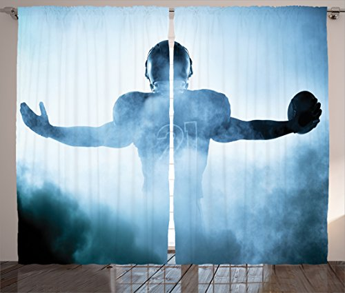 Football Decor Curtains by Ambesonne, Heroic Shaped Rugby Football Player Sports Shadow Standing in Fog Playground Photo, Living Room Bedroom Window Drapes, 2 Panel Set, 108 W X 84 L Inches, Blue