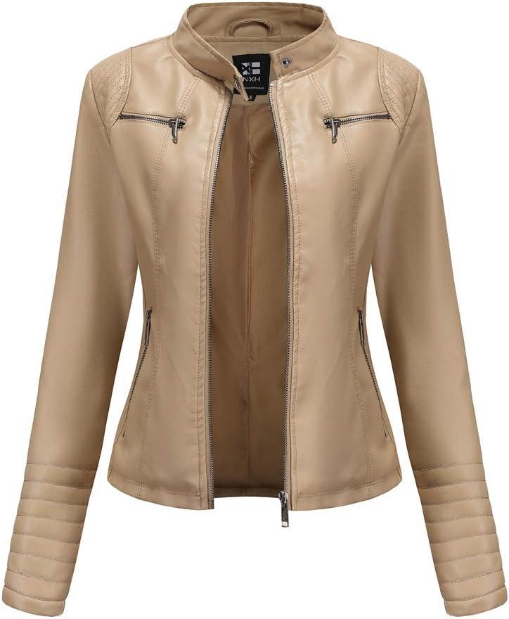 Chaqueta de Cuero Leather Jackets Motorista de PU para Mujer Chaqueta con Bolsillos con Cremallera, Chaqueta Corta para el Otoño, Primavera (5 Colores)