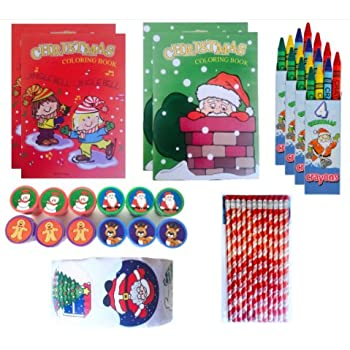 132 pc Christmas Themed Kids Assortment, Party Favors for Kids (12 Stampers, 100 Stickers, 4 Coloring Books, 4 Sets Crayons & 12 Candy Cane Pencils)