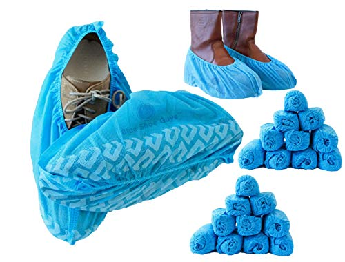 Latex Boot Covers - Blue Shoe Guys Premium Disposable Boot & Shoe Covers 200 Pack (100 Pairs) | Non-Slip, Durable, Indoor | Protect Your Home, Floors and Shoes | Large & XL