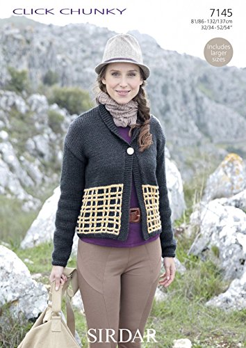 Sirdar Click Chunky - Sirdar Ladies Jacket Click Knitting Pattern 7145 Chunky