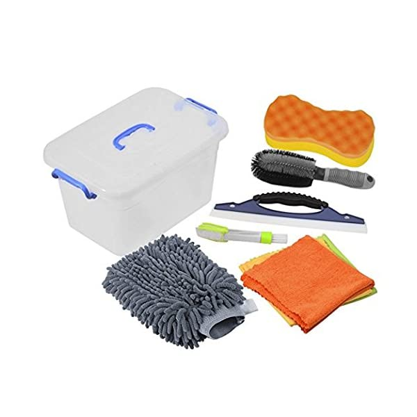 Car Cleanning Kit With Bag   Tire Brush | Chenille Wash Sponge | Duster | Window Water Scraper | Wash Cloth | Double Head Car Vent Brush