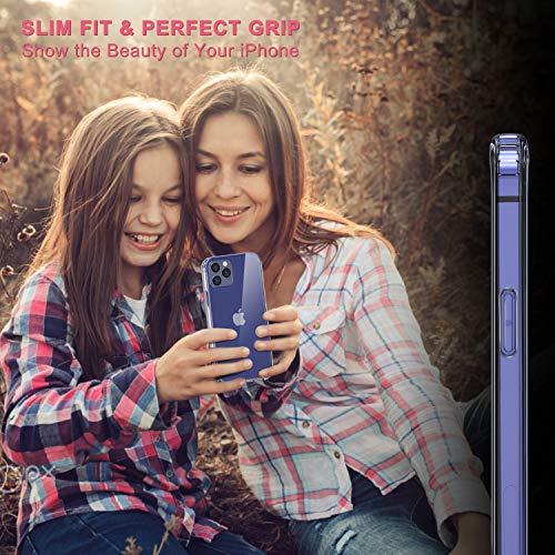Anti-Yellowing Slim Thin Hard PC Back whit Soft Shockproof TPU ANLCQC Clear Hybrid Case Compatible with iPhone 12 Compatible with iPhone 12 Pro 6.1 Inch Clear