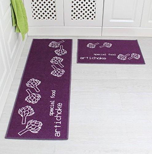 Price comparison product image The kitchen floor MATS strip antiskid suction machine washable Enter the hall floor mat bath mat bedroom bed pad carpet (40x60CM(Article 2),  purple)